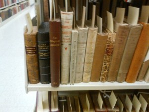 Two first editions of The Compleat Angler, on the far left (one rebound and the other in a black clamshell box)